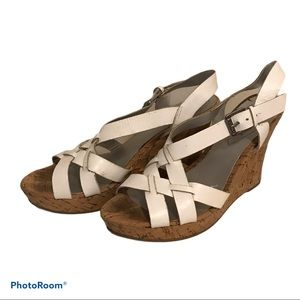 🔥Guess White Wedge Cork Strappy Sandals